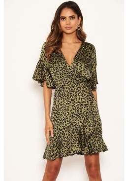 AX Paris Women's Leopard Print Full Wrap Mini Dress