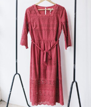 Thought - Hibiscus Red Organic Cotton Midi Dress - 8 - Red
