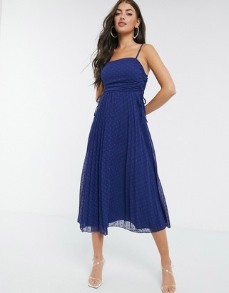 ASOS DESIGN pleated dobby midi dress with drawstring details in navy