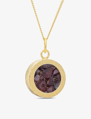Rachel Jackson Birthstone Amulet January 22ct gold-plated sterling silver and garnet necklace
