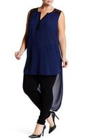 Daniel Rainn Sleeveless Lace Tunic Chiffon Blouse (Plus Size)