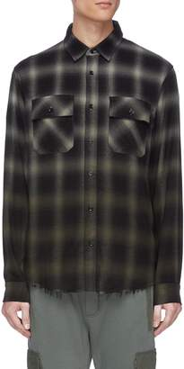 Amiri Raw hem check plaid shirt