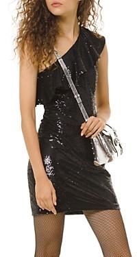MICHAEL Michael Kors Ruffled Sequined One-Shoulder Dress