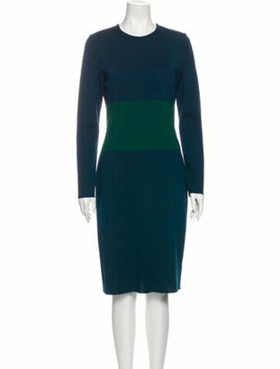 St. John Colorblock Pattern Knee-Length Dress Blue
