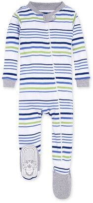 Burt's Bees Two Tone Multi Stripe Organic Baby Zip Front Snug Fit Footed Pajamas