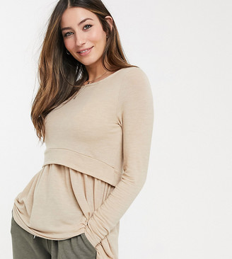 Mama Licious Mamalicious Maternity nursing sweater in beige