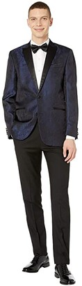 Kenneth Cole Reaction Slim Fit Peak Collar Tuxedo with Stretch (Blue) Men's Suits Sets