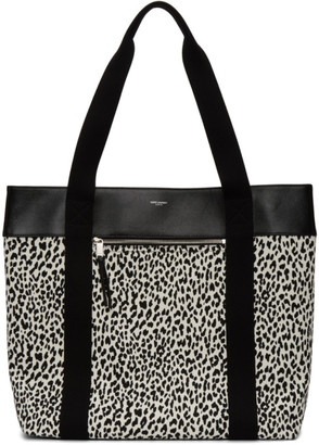 Saint Laurent Black and White Medium Baby Cat Daily Cabas Tote