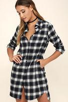 LuLu*s Wild Heart Navy Blue Plaid Shirt Dress