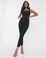 TFNC square neck straight leg scuba jumpsuit