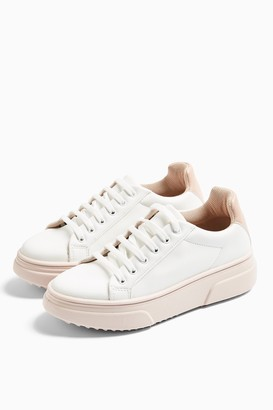 Topshop Womens Canada Blush Pink Lace Up Trainers - Blush
