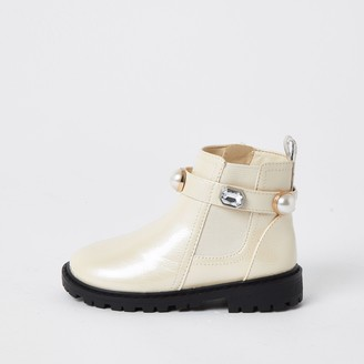River Island Mini girls Cream gem strap chelsea boots