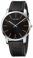 Calvin Klein City Stainless Steel and Embossed Leather Strap Watch