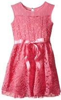 Us Angels Lace Dress w/ Drop Shoulder Illusion Neckline w/ Belt & Full Skirt (Big Kids)