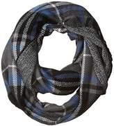 D&Y Women's Traditional Plaid Loop Scarf Reversible To Herringbone Print