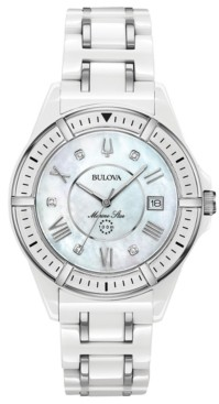 Bulova Women's Marine Star Diamond-Accent White & Silver-Tone Ceramic Bracelet Watch 37mm