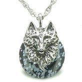 BestAmulets Amulet Wolf Head Protection Powers Lucky Donut Snowflake Obsidian Pendant 22 Inch Necklace