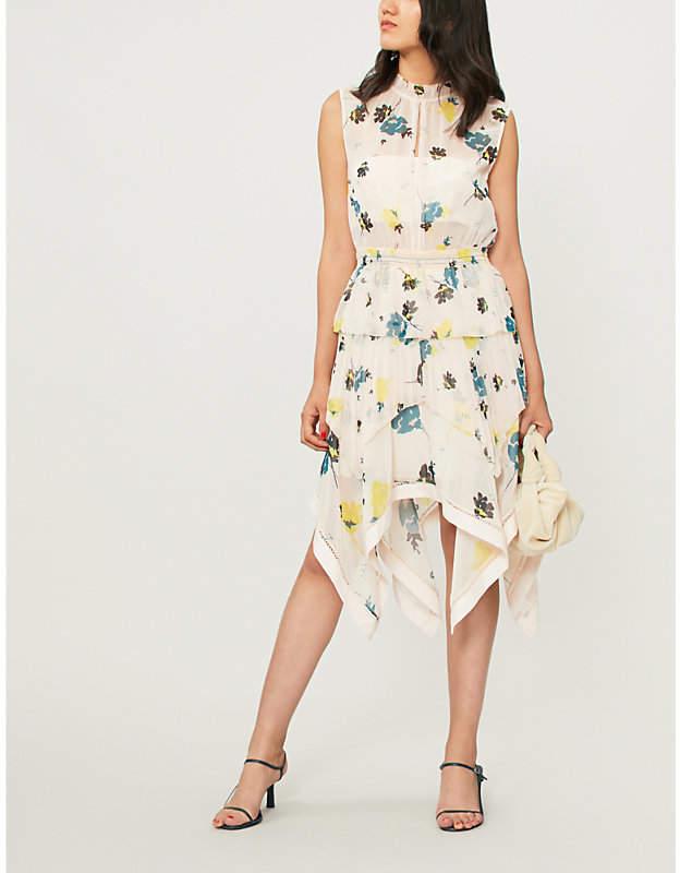 Self-Portrait Asymmetric graphic floral-print chiffon dress