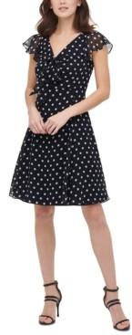 DKNY Flutter-Sleeve Fit & Flare Dress