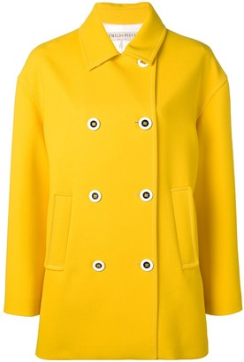 Emilio Pucci Yellow Double-Breasted Pea Coat