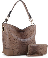 Mkf Collection By Mia K. MKF Collection by Mia K. Women's Hobos taupe - Taupe Ostrich-Embossed Wandy Hobo & Wallet