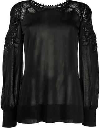 Alberta Ferretti Lace-Panelled Jersey Top