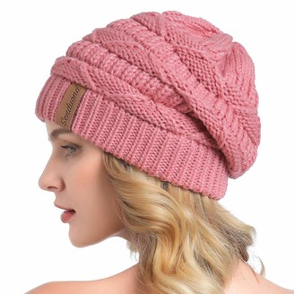 SENDUONA Women Slouchy Beanie Winter Baggy Warm Snow Knit Hat Thick Oversized Skull Cap - pink - One Size