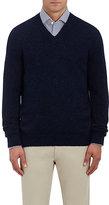 Ermenegildo Zegna Men's Brushed Alpaca-Blend V-Neck Sweater-NAVY