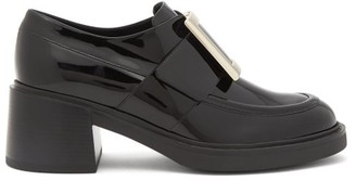 Roger Vivier Viv Rangers Buckled Patent-leather Loafers - Black