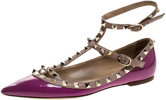 Valentino Purple Patent Leather And Leather Rockstud Double Ankle Strap Cage Ballerina Flats Size 38