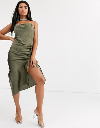 Public Desire midi cami dress with cowl neck and ruching in satin-Green
