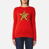 Bella Freud Women's Iggy Leopard Star Jumper Red