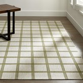Crate & Barrel Koen Grid Green Indoor-Outdoor Rug