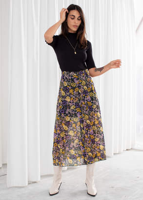 And other stories Floral Button Up Midi Skirt