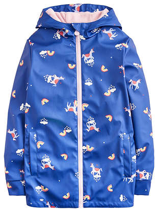 Joules Girls' Rain Coats BLUNICLOUD - Blue Unicorn Clouds Raindance Waterproof Rubber Coat - Toddler