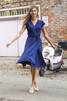 Shabby Apple French Quarter Wrap Dress Textured Navy