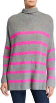 Autumn Cashmere Breton Striped Funnel-Neck Sweater