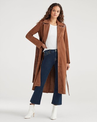 7 For All Mankind Suede Trench Coat with Patent Leather Trim in Cognac