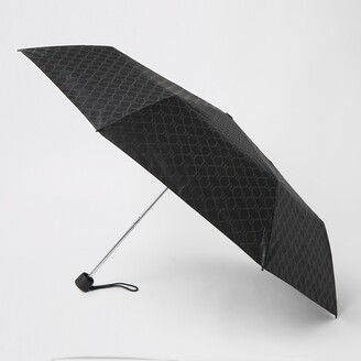 River Island Mens Black RI monogram umbrella