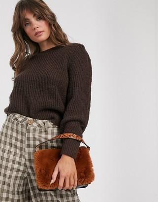 Weekday Cheri round neck wide rib knitted jumper in dark brown