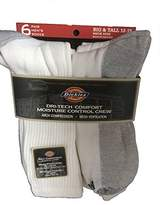 Dickies Men's Dri-Tech Comfort Moisture Control Crew Socks 6 Pair Big & Tall