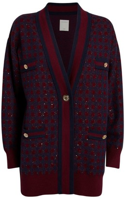 Sandro Sequin-Embellished Check Cardigan