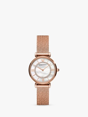Emporio Armani Women's Cubic Zirconia Mesh Bracelet Strap Watch