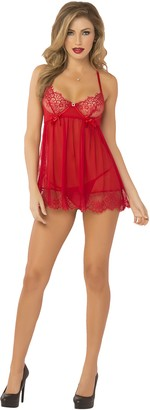 Seven Til Midnight SEVEN 'TIL MIDNIGHT Women's Eyelash Lace Underwire Babydoll with Rhinestone Charm and Thong