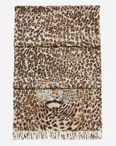 N.Peal Print Leopard Cashmere Scarf