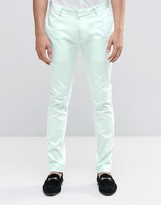 Asos Superskinny Pant In Pale Blue Cotton Sateen