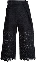 Sacai guipure lace cropped trousers - women - Cotton/Polyester/Rayon - 3