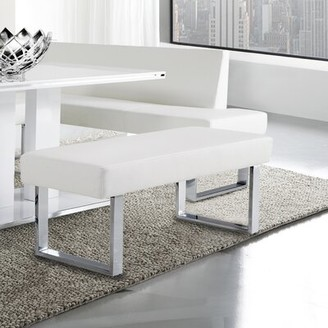Ivy Bronx Darcie Faux Leather Bench Upholstery Color: White
