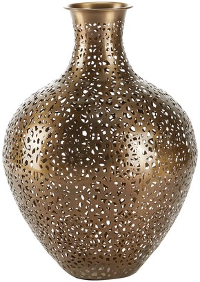 """Willow Row Round Amphora Gold Metal Vase with Geometric Cutouts - 12.56"""" x 17.5"""""""