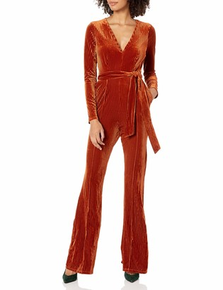 ASTR the Label Women's Cadence Fitted Velvet Plunging Jumpsuit